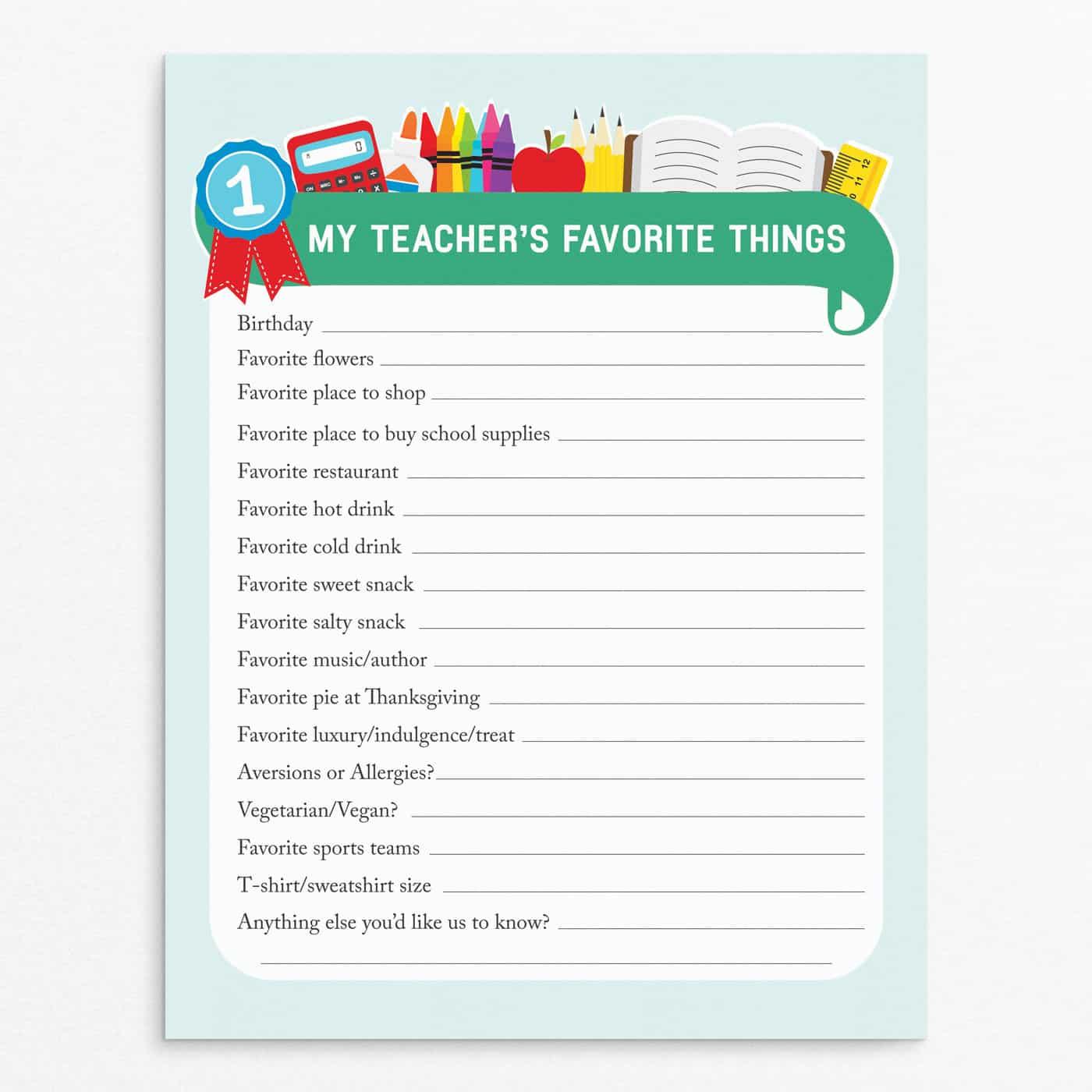 Teacher favorite things questionnaire for easy teacher gift ideas.