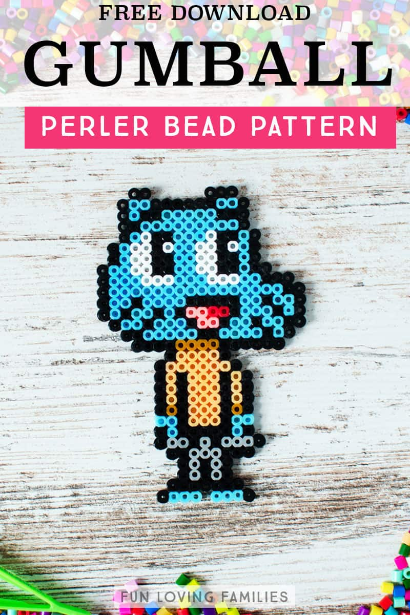 Gumball Watterson melty bead template. Click through for the free download pattern.