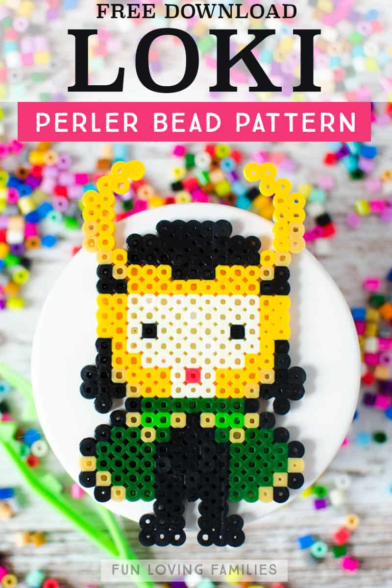 Marvel Loki perler bead pattern download for melty bead crafts. #perlerbeads #meltybeads #loki #tweencrafts #marvel