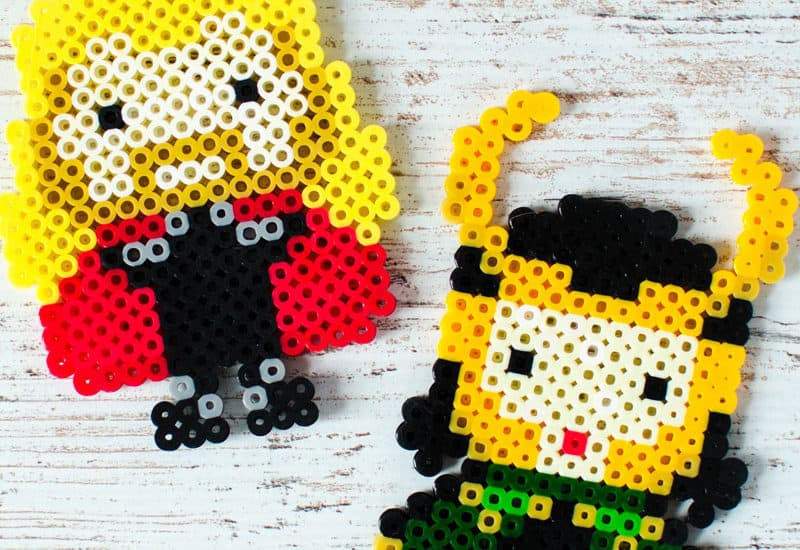 Make melty bead crafts with Thor and Loki character patterns. Click through for the free pattern download. Fun craft for tweens. #perlerbeads #meltybeads #tweencrafts