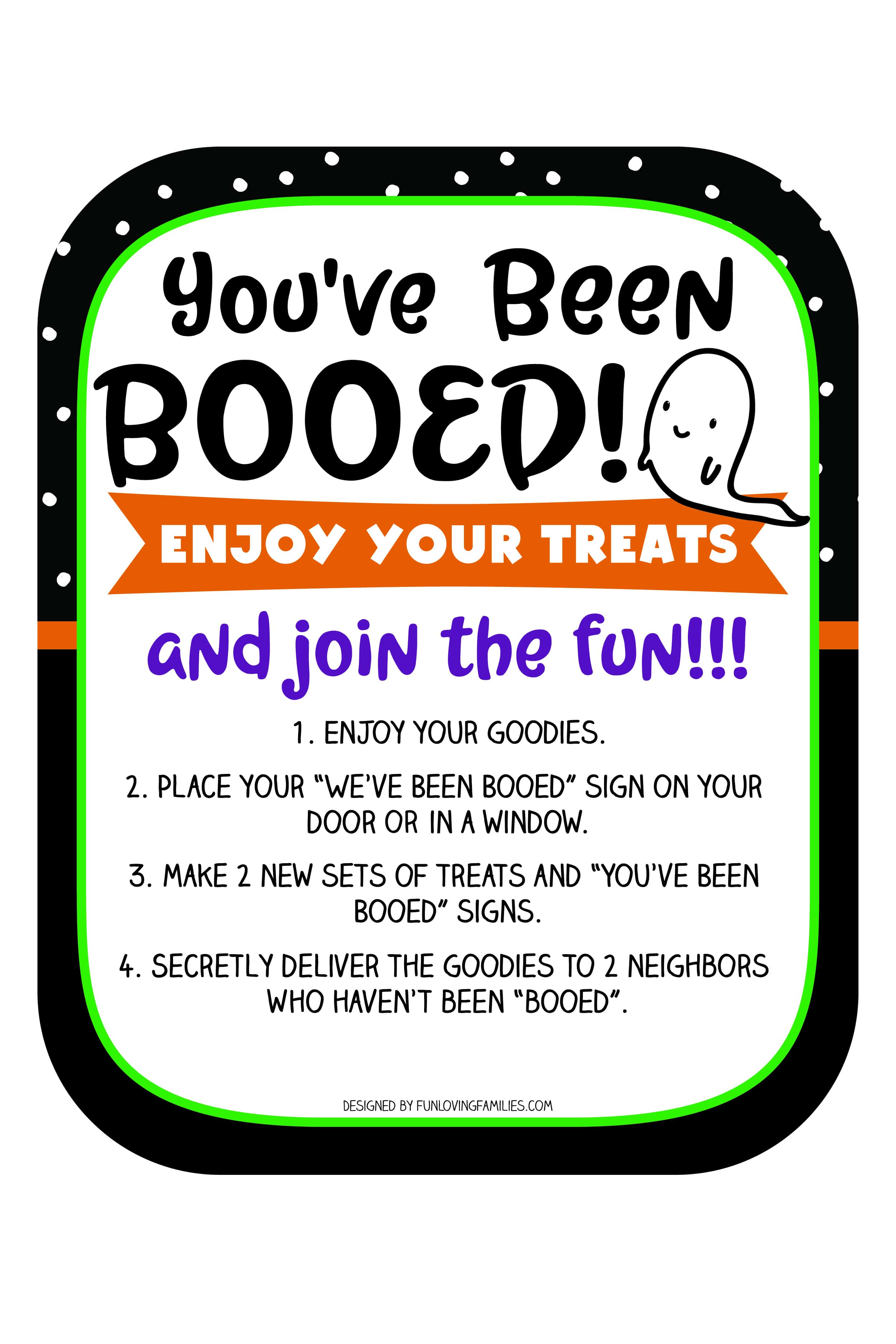 You've been Booed printable sign. Use this free printable to add to your Boo Basket so friends and neighbors can play along. #cute #halloweenprintables #booed #youvebeenbooed #ghost