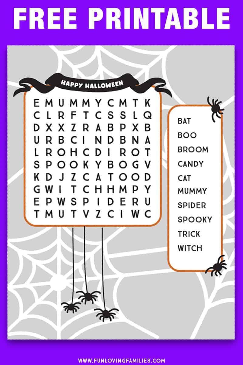 easy Halloween word search that is small for younger kids