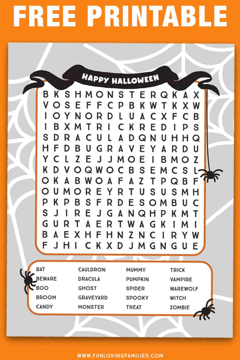 Halloween word search printable for older kids with twenty words