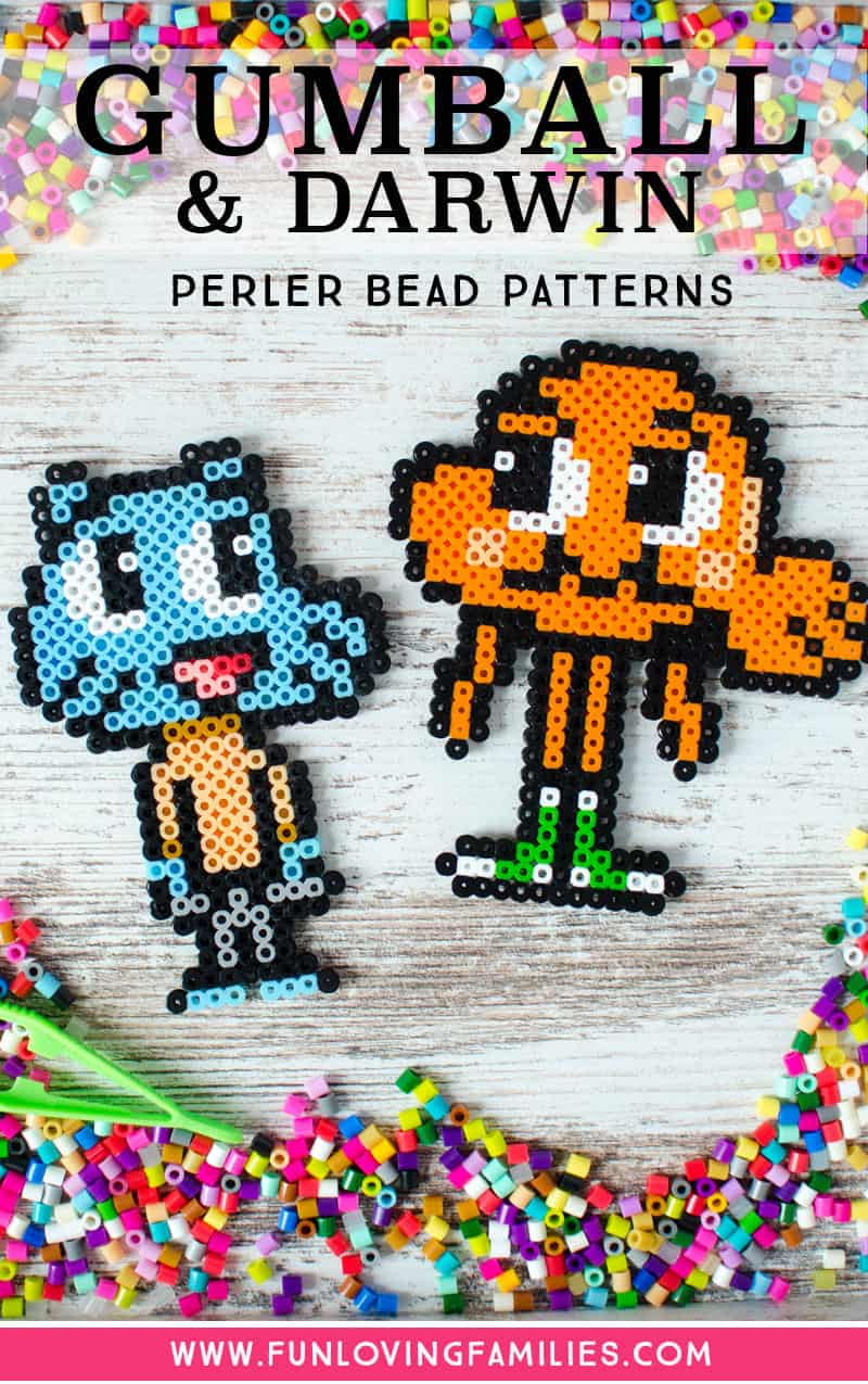 Cute Gumball and Darwin melty bead patterns, easy kids craft.