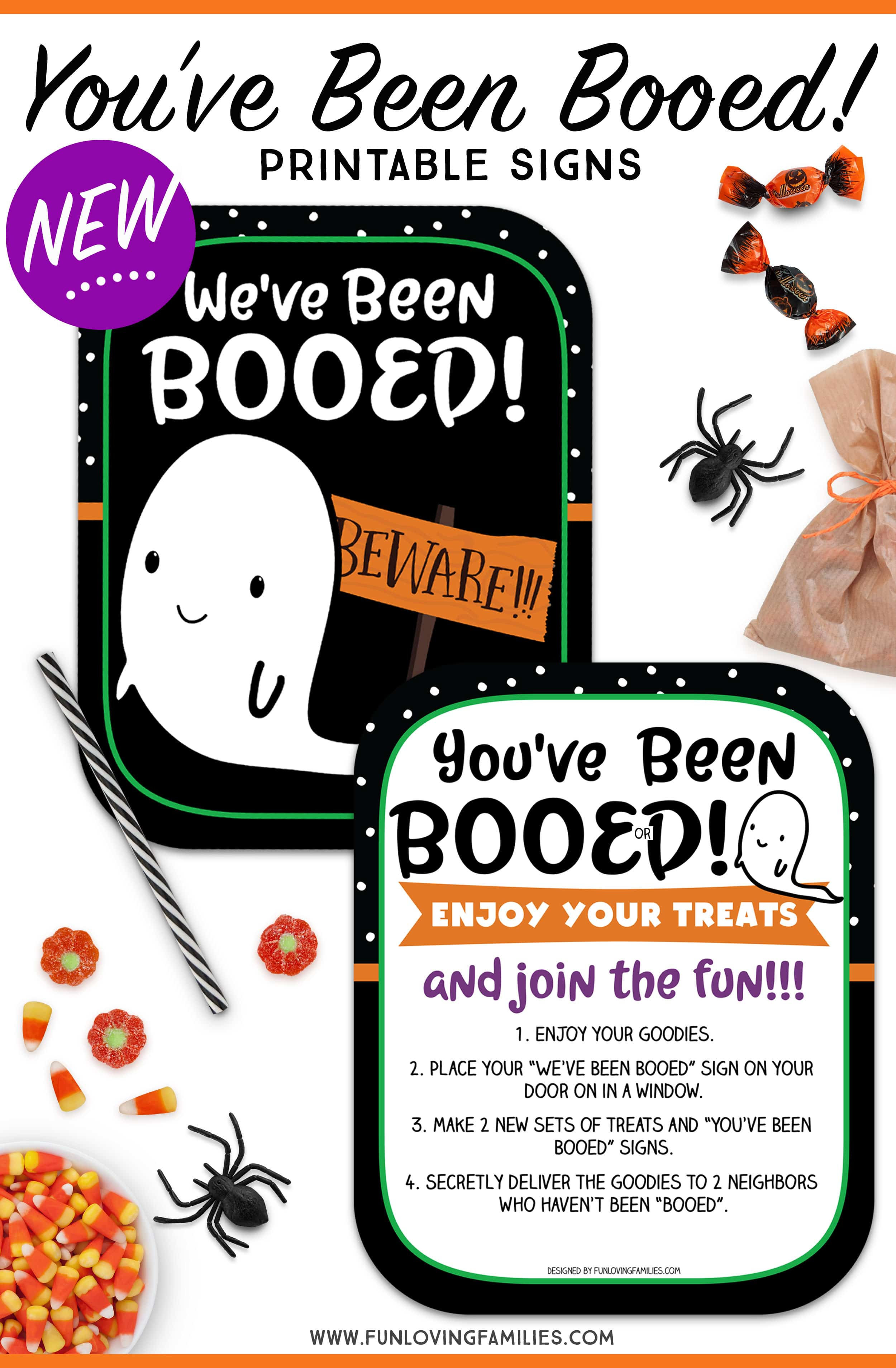 You've Been Booed free printables and ideas. We love playing the boo game in our neighborhood. Find out how and grab the free printables. More options on the blog! #halloweengame #youvebeenbooed #boogame #cute #ghost #ghostie #halloweenprintables