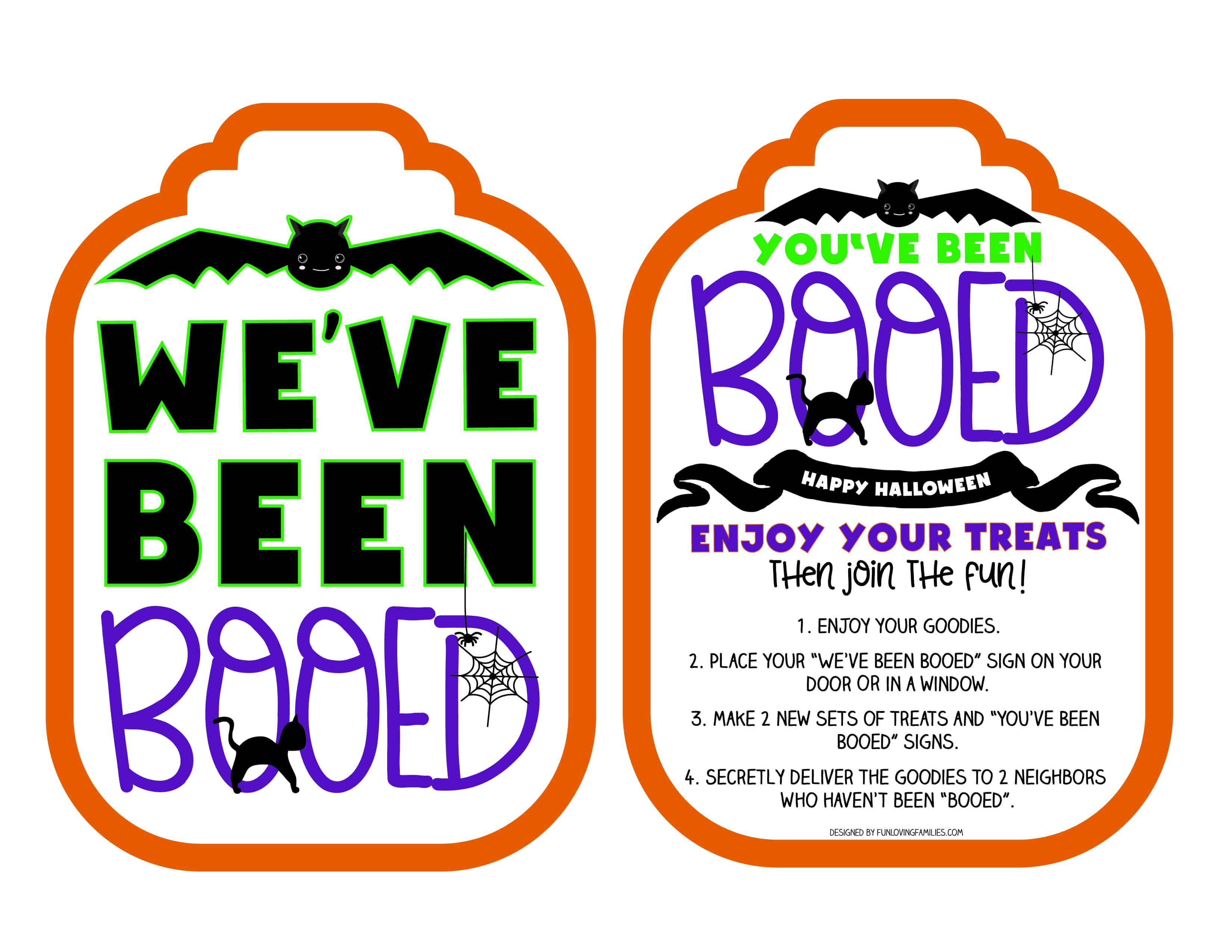 """Boo"" your neighbors with some fun Halloween goodies. Grab these free printable You've Been Booed signs and some candy, and spread Halloween cheer!"