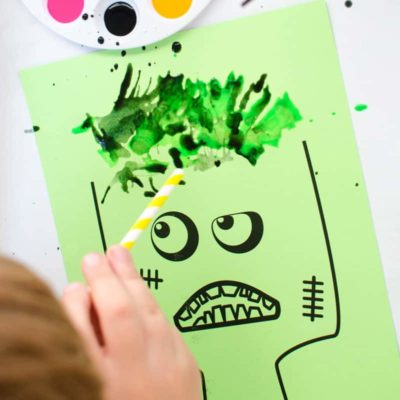 Zombie Blow Painting Activity for Kids (with Free Printable)