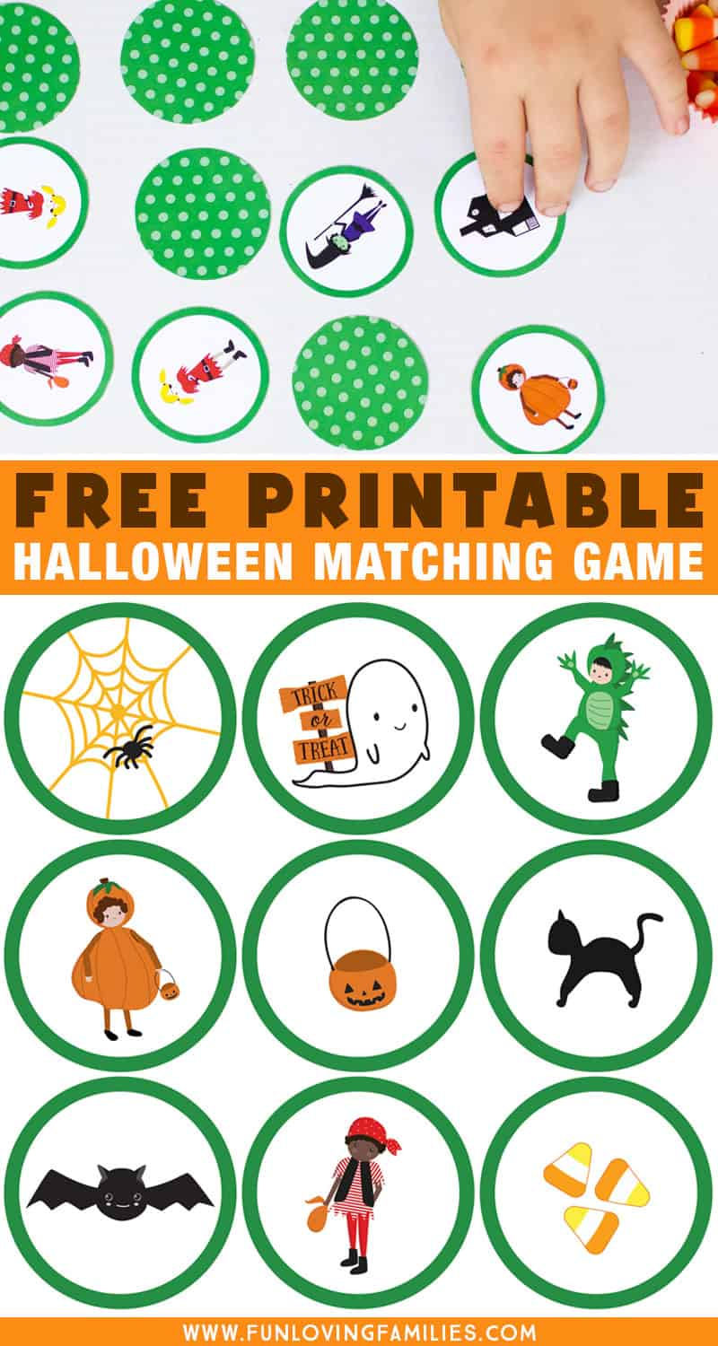 Halloween matching game printable for kids: Download the free Halloween game for simple fun for the kids. #memorygame #halloweengame #matchinggame #halloweenkidsactivity