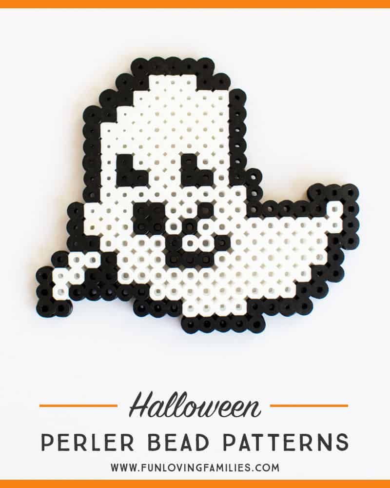 Perler bead ghost pattern for Halloween