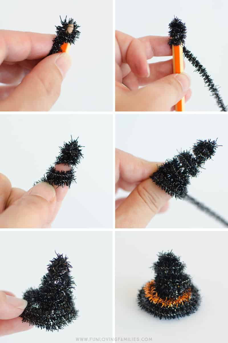 how to make pipecleaner hat for lollipop witches
