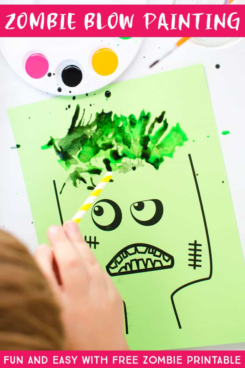 This zombie blow painting art project for kids is so fun. Grab the free zombie download and print a bunch! Great for classrooms, homeschool art, and playdates. And is a fun Halloween activity for all ages. #kidsart #kidsactivities #zombiecraft #zombies #freeprintablekidsactivities #funlovingfamilies