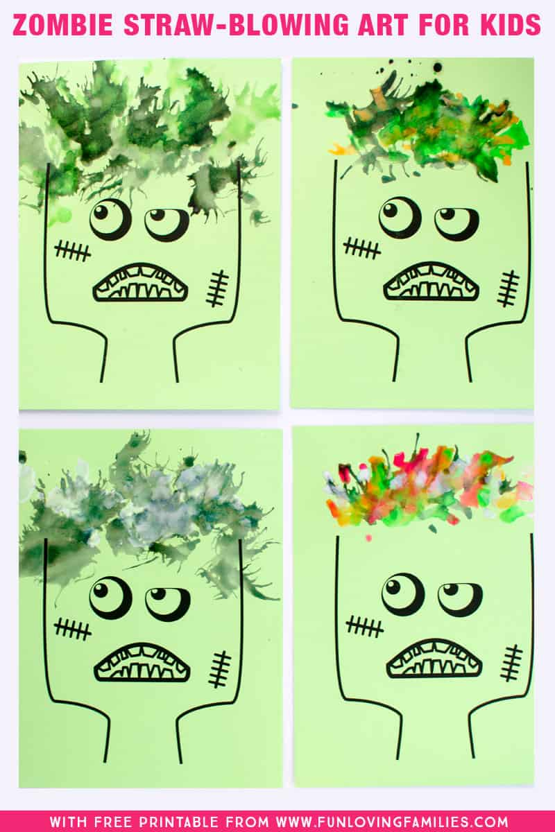 Fun halloween painting activity for kids! Use the free zombie printable, paint, and a straw to make crazy zombie hair! The kids will want to do this over and over. #halloween #funforkids #kidsart #easyartprojects #halloweenfun #halloweenactivities #halloweenkidsactivity #kidsartsandcrafts #funlovingfamilies