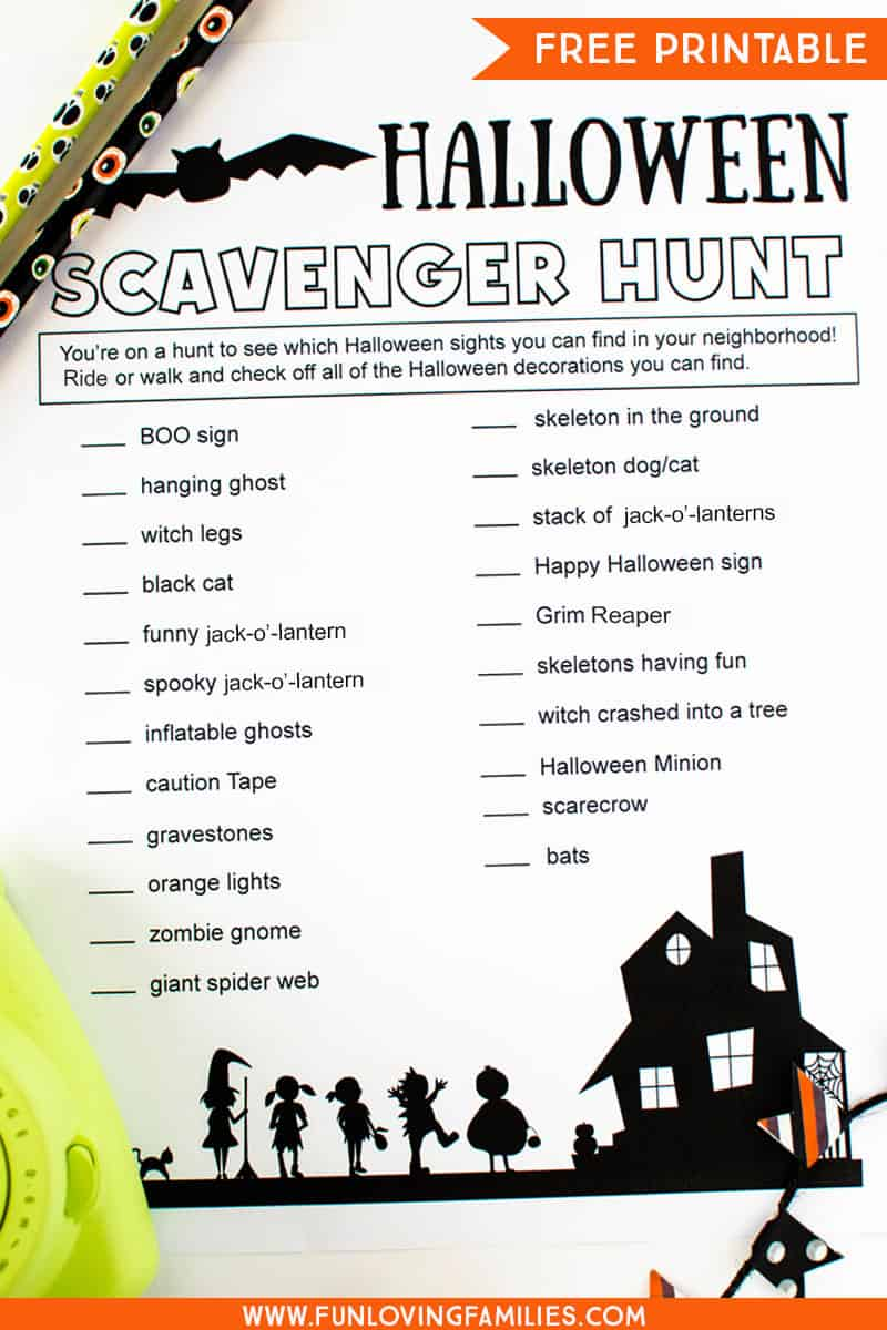 Print the free Halloween scavenger hunt list for a fun Halloween party game or family activity. #halloween #halloweenprintables #halloweengame #freeprintables #kidsactivities #kidsgame #funlovingfamilies