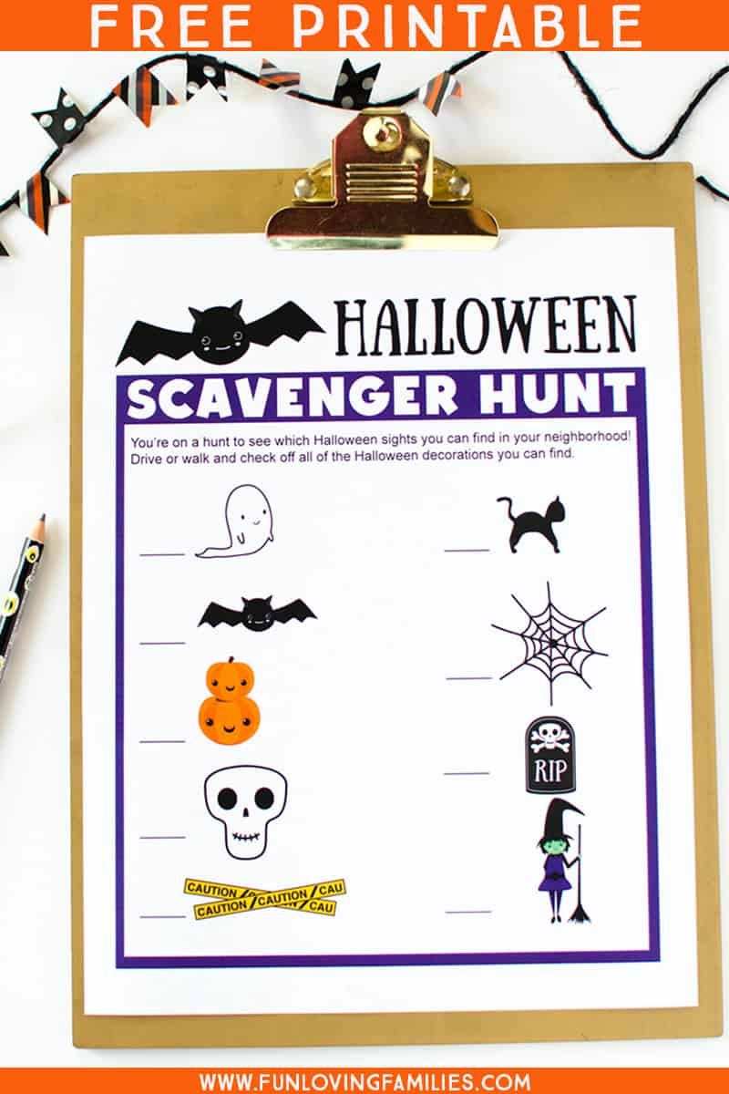 This free printable Halloween scavenger hunt for kids is perfect for pre-schoolers who aren't reading yet. Go on a family neighborhood scavenger hunt this Halloween! #halloween #halloweenpreschoolactivity #halloweenprintables #halloweenfun #familyactivities #funlovingfamilies