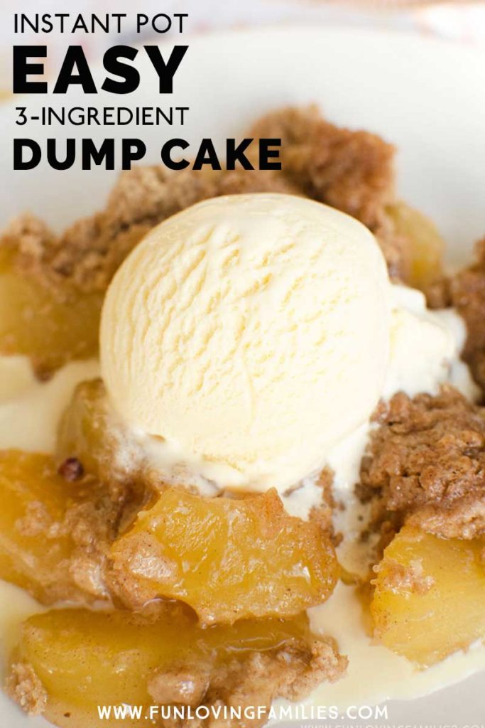apple dump cake with ice cream topping