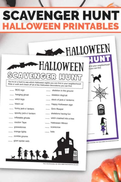 Print these Halloween scavenger hunt lists for all ages then have fun searching the neighborhood with the kids. This is a fun family Halloween activity. #halloweenprintables #halloweenactivity #halloweenpartygame #halloweenfun #freeprintables #funlovingfamilies