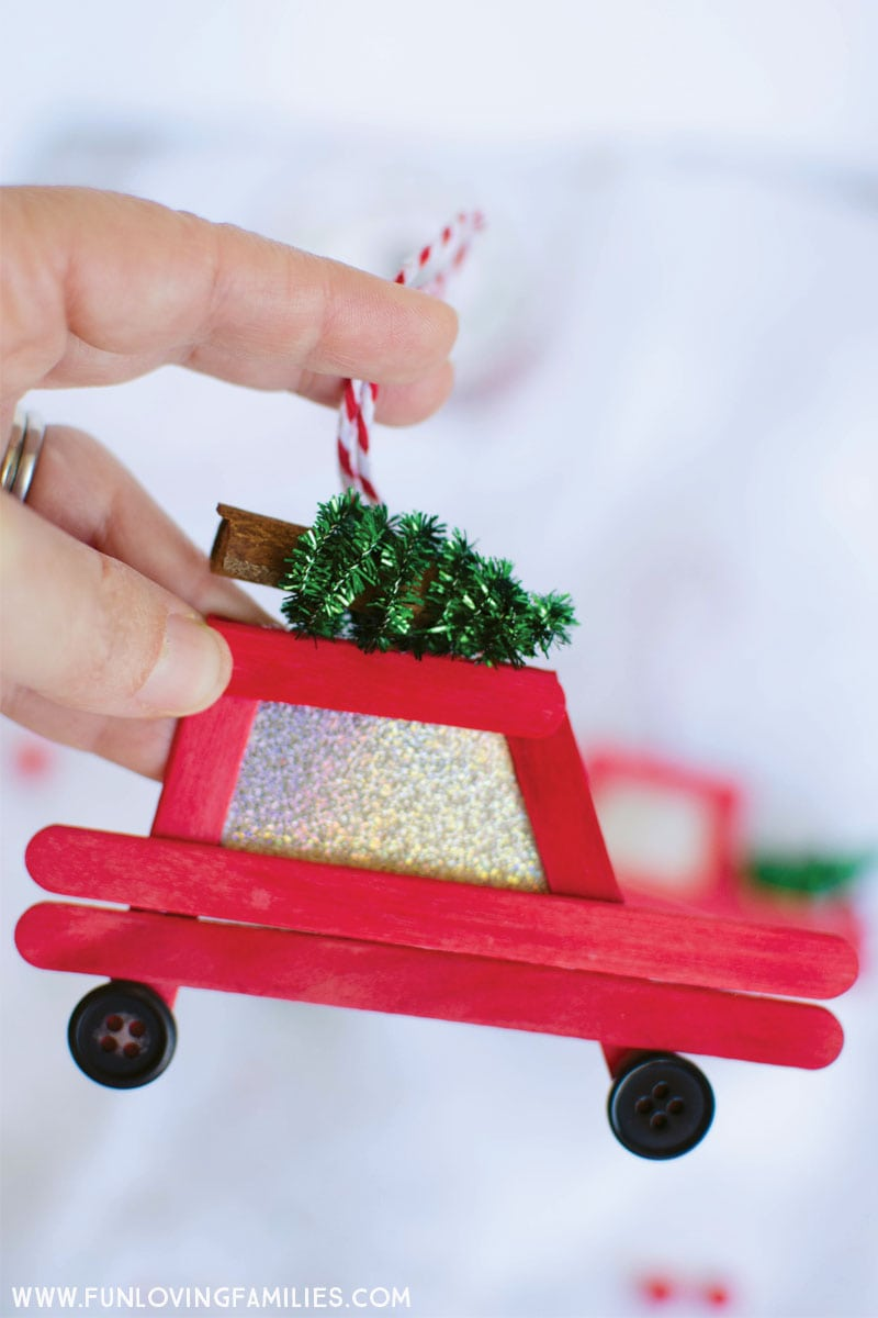 Old Red Truck With Christmas Tree In Back.Diy Car And Truck Popsicle Stick Christmas Ornaments Fun