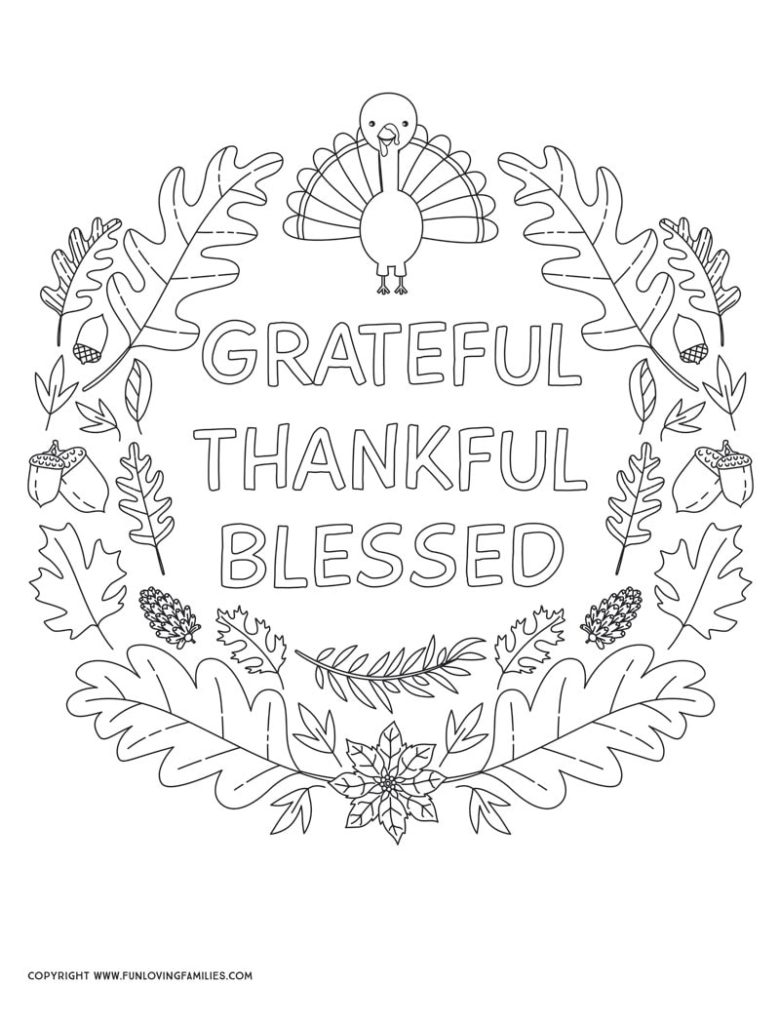 turkey coloring sheet with grateful thankful blessed