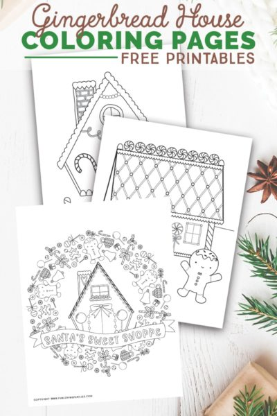 Download these free gingerbread house coloring pages for festive family time with the kids. These holiday coloring sheets are good for kids and adults! #christmascoloring #christmasprintables #coloringpages #christmascoloringpages #holidaycoloringpages #gingerbreahouse #freeprintables #holidayactivitiesforkids
