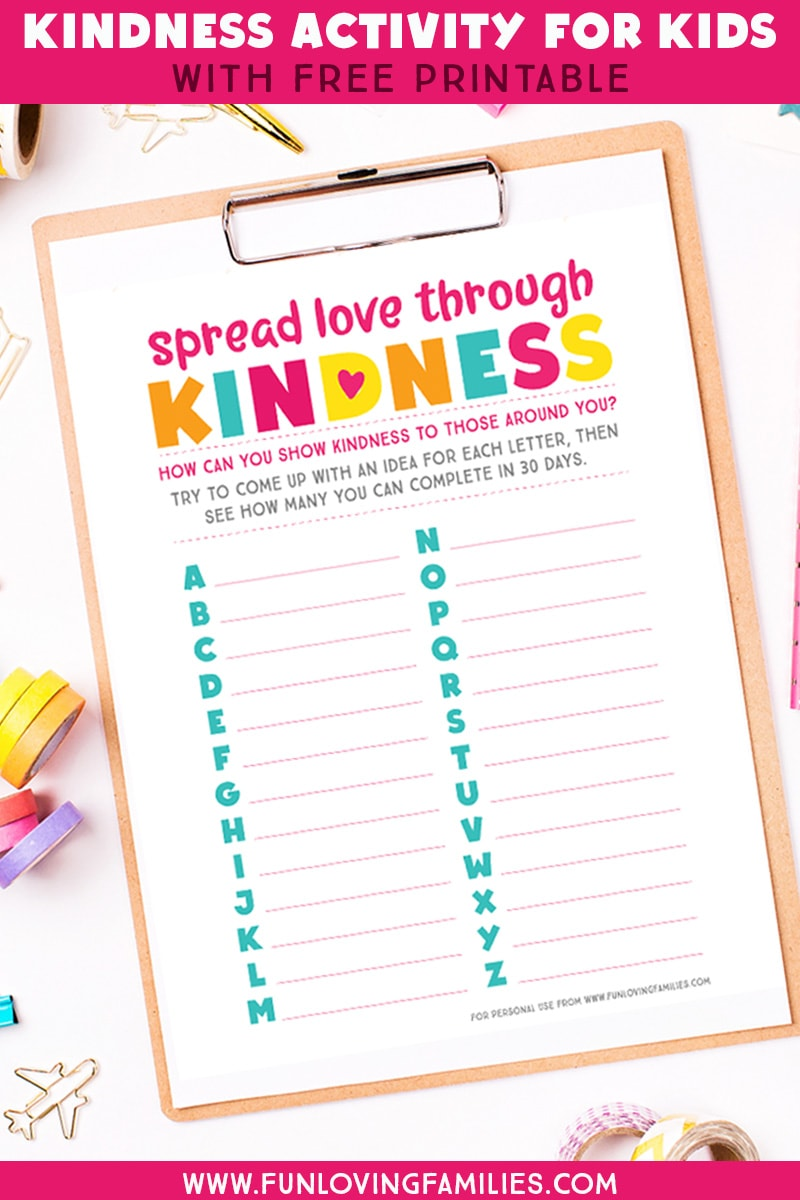 Kids will have fun coming up with creative ways to show kindness to others with this free printable kids kindness activity sheet. Great idea for a fun kindness challenge for kids. #kindnesschallenge #freeprintable #kidsactivity