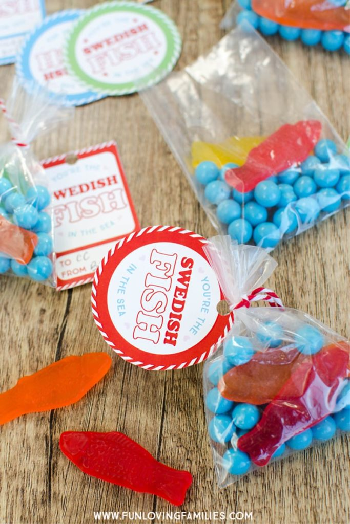 swedish fish valentines candy bags with You're The Swedish Fish in the Sea tags