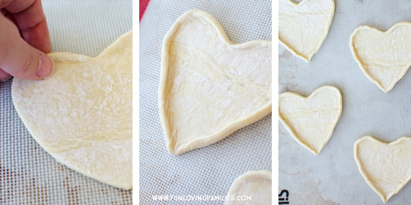 How to make puff pastry hearts for a Valentines day treat.