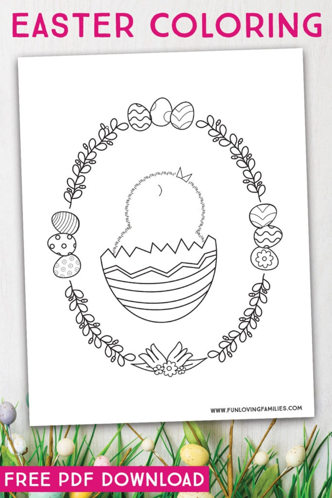 Cute Easter chick coloring page for kids. Click through for more free printable Easter coloring pages. #easter #eastercoloring #easterprintables #kidseasteractivities