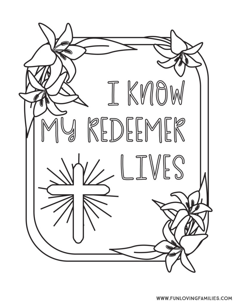 My Redeemer Lives Religious Easter Coloring Page for Sunday School