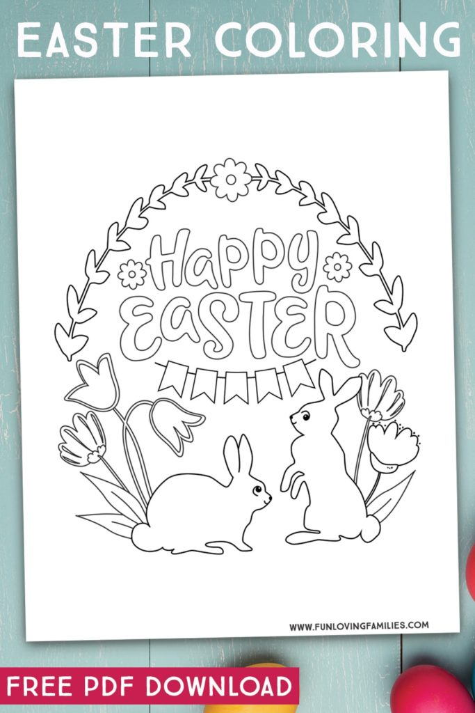 This Happy Easter coloring page is so cute. Click through for the free printable PDF. #easter #eastercoloring #easterbunny #easteractivities