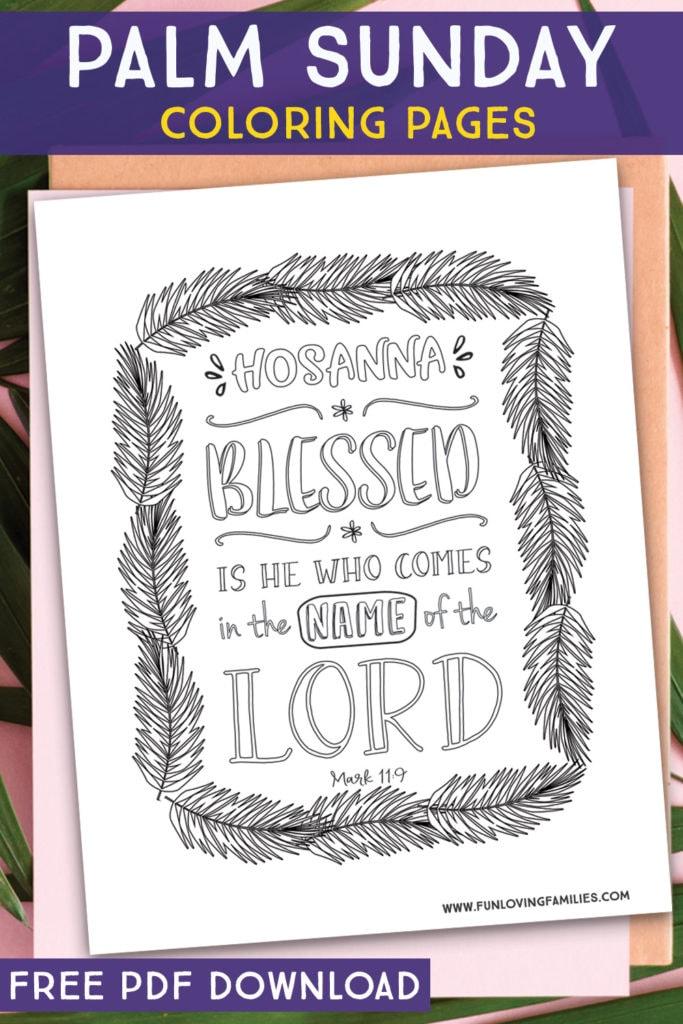 Hosanna Palm Sunday coloring sheet with Bible Verse