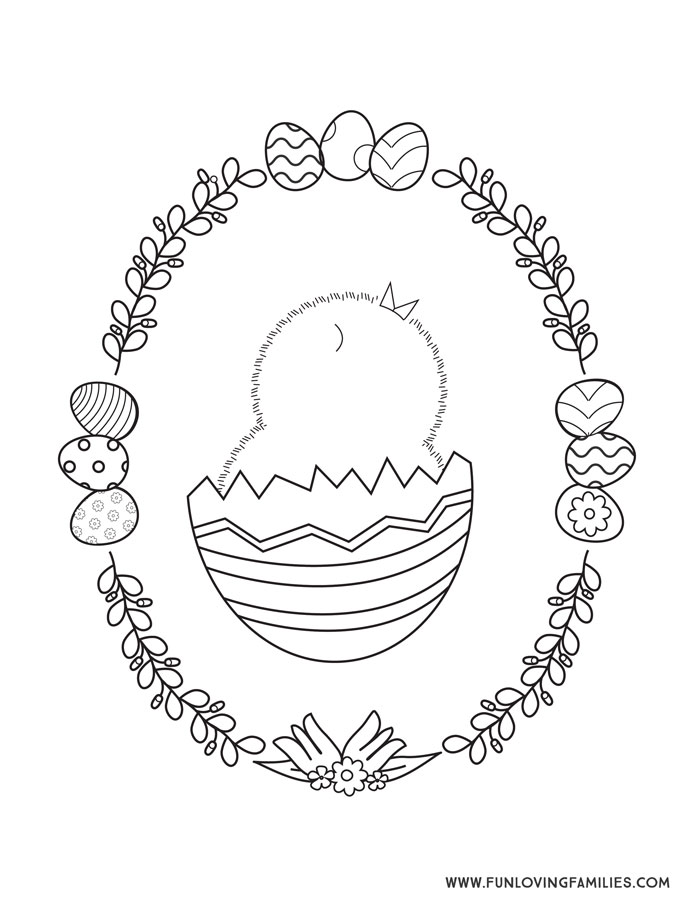 Baby chick cute Easter coloring page printable for kids