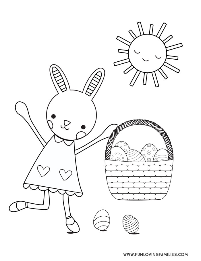 cute bunny carrying egg basket printable coloring page