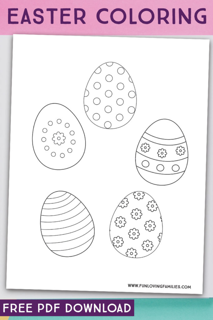 Easter egg coloring pages for kids Easter activities.
