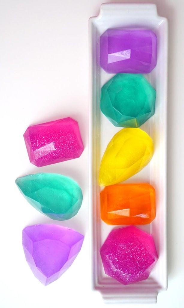 colorful gem-shaped glycerin soaps