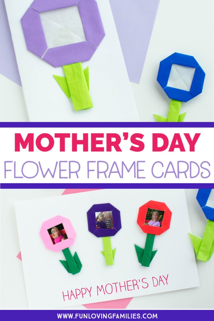 Make these handmade Mother's Day flower frame cards with the kids. Easy Mother's Day craft that mom or grandma will love. #mothersday #mothersdaycraft #origamiforkids #origamiflower