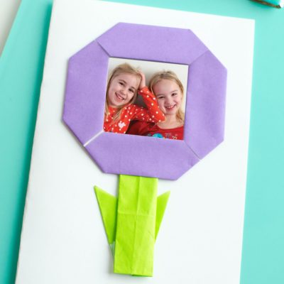 origami flower with photo of kids inside for Mother's Day gift