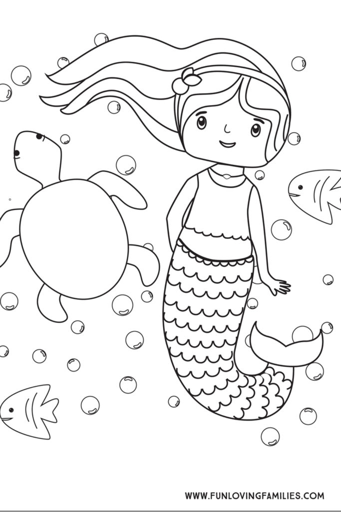 mermaid coloring page with turtle and fish