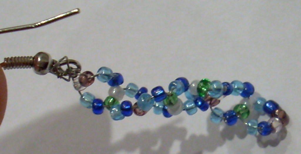 beaded double helix dna earrings