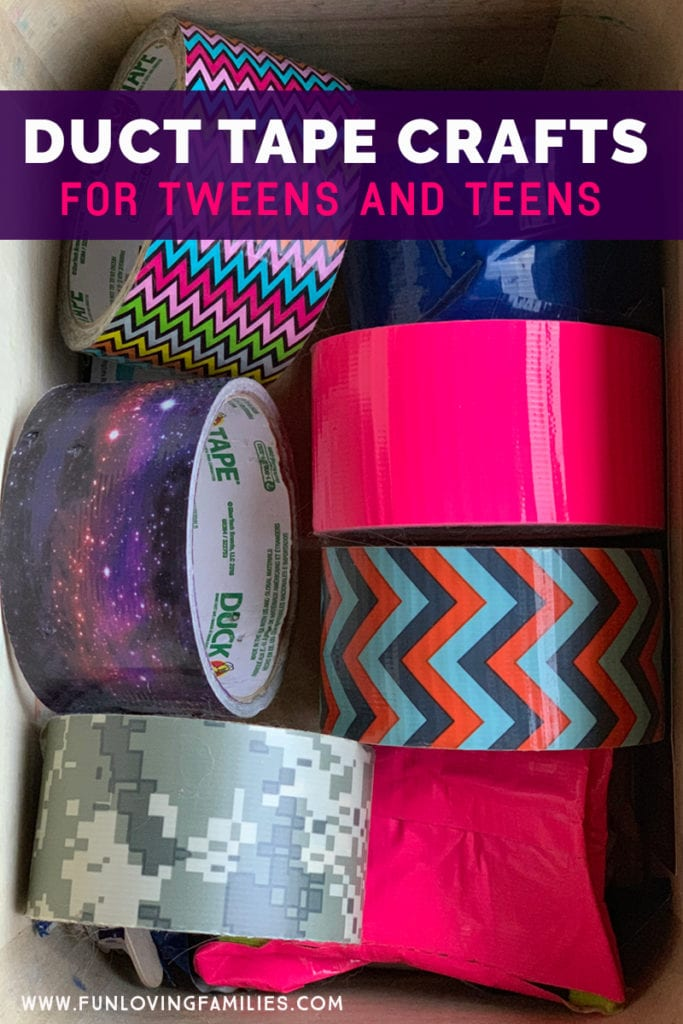 bin full of rolls of colorful duct tape for crafting