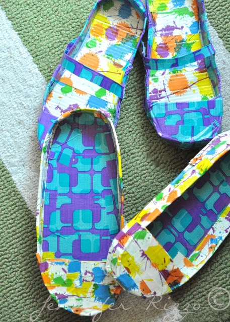 colorful handmade duct tape shoes