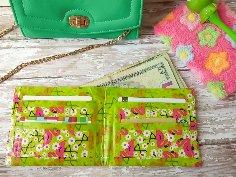DIY Duct tape wallet tween craft idea with flamingo duct tape