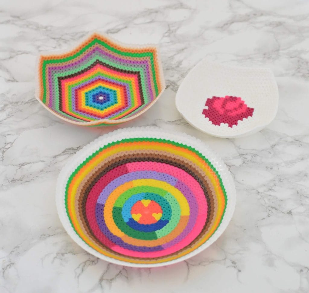colorful bowls made from melted beads