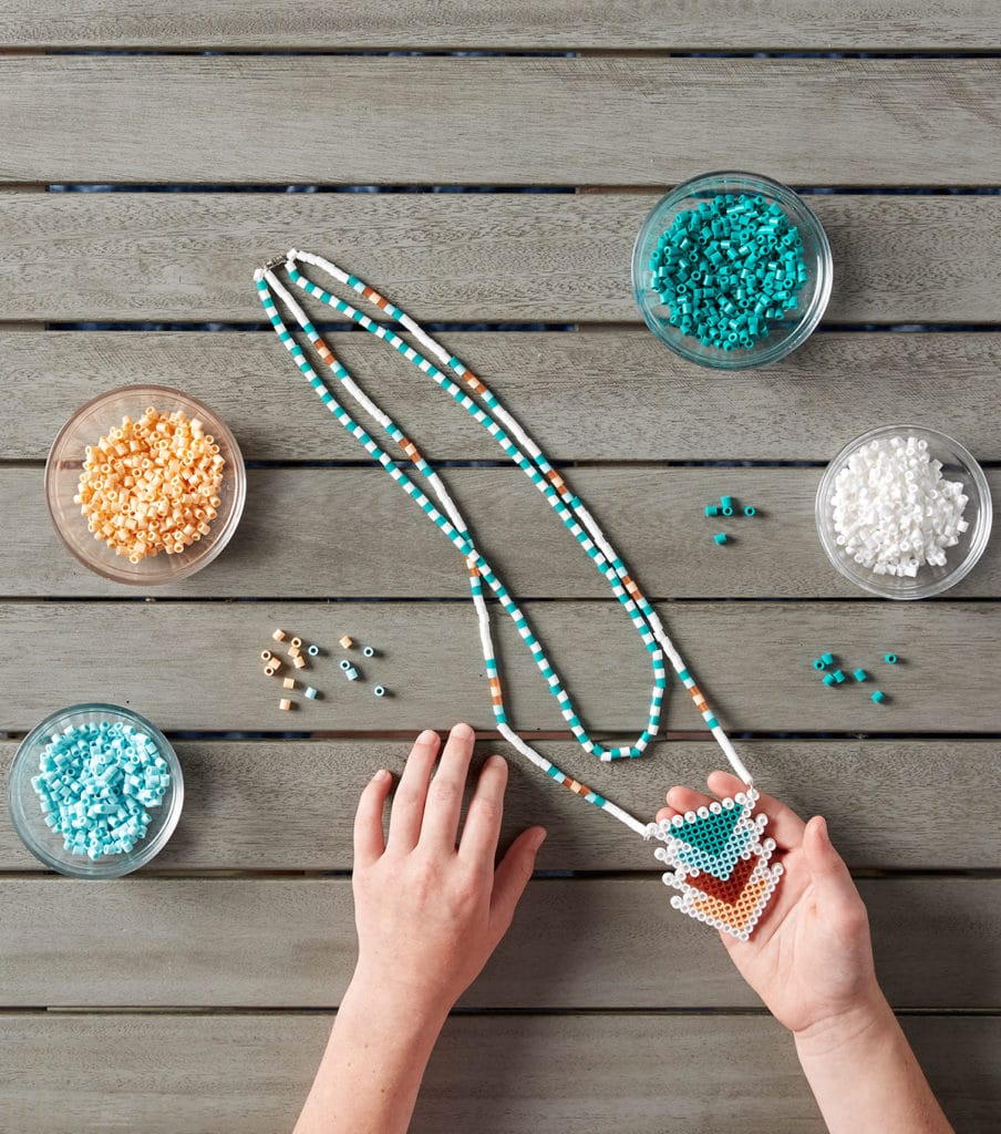 beaded necklace with perler beads
