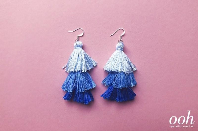 shades of blue DIY tassel earrings craft for teens