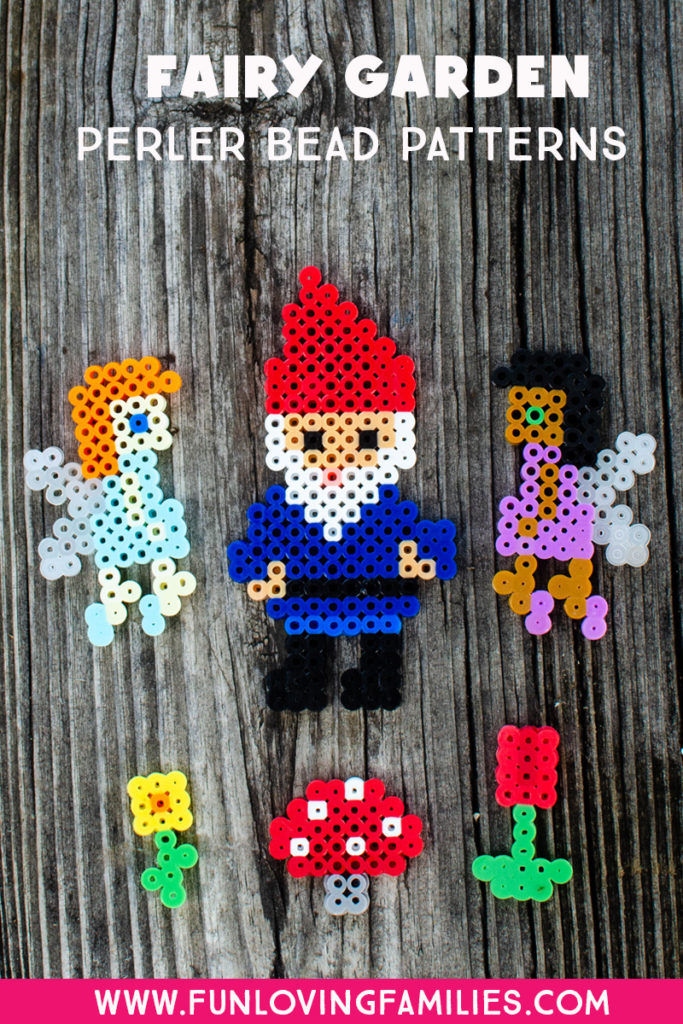 Perler Bead fairies and garden gnome with small flowers and mushroom