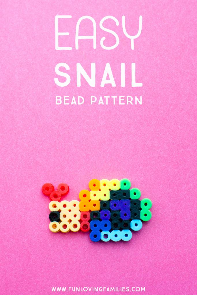 perler bead rainbow snail