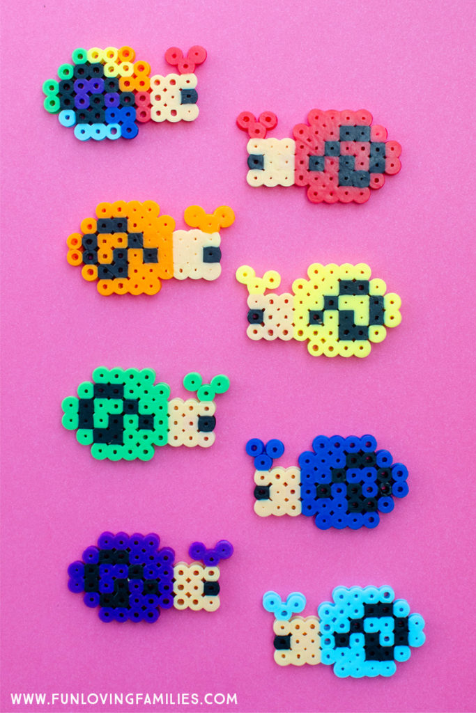 melty bead craft with colorful snails