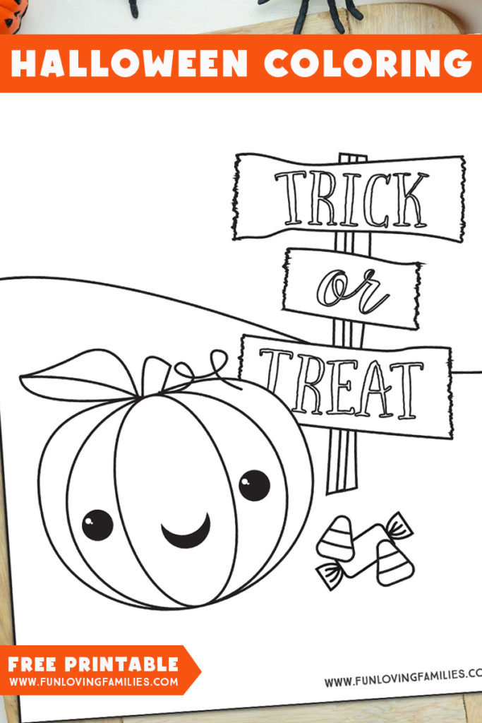 Trick or Treat pumpkin coloring page for kids