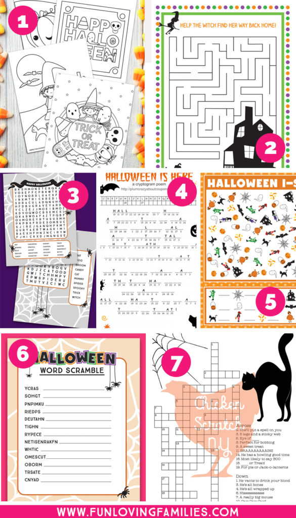 free printable Halloween activity sheets for kids
