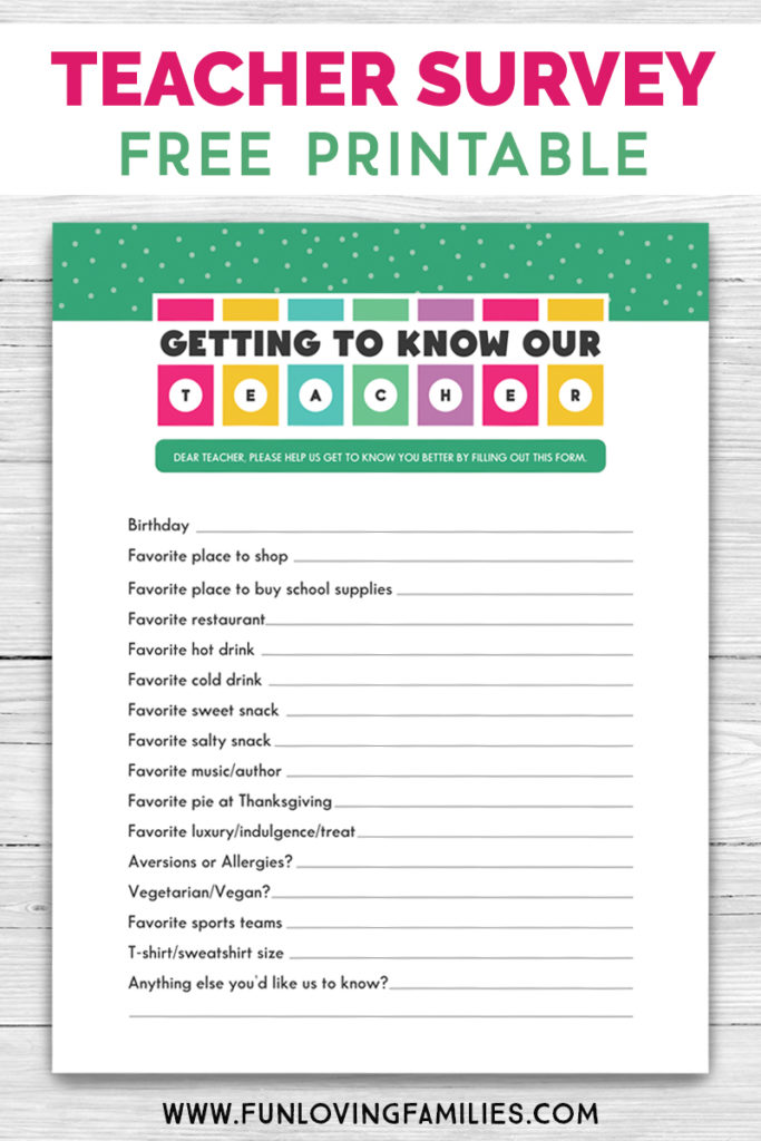 free printable teacher questionnaire
